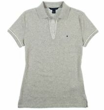 NEW TOMMY HILFIGER Women's EMMA Classic Polo V-Neck Shirt Light Grey Heather M