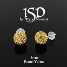 14k Gold 8mm Swarovski Elements Peach Yellow Crystal Disco Ball Studs Earrings