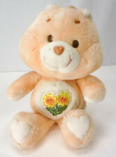 "Vintage 1983 CARE BEARS Plush FRIEND Bear Sunflowers Peach 13"" Stuffed Animal"