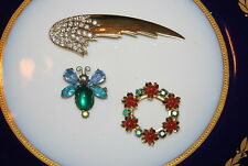 WONDERFUL VINTAGE SET OF THREE ASSORTED PINS OR BROOCHES AS PER PICTURES # M-007