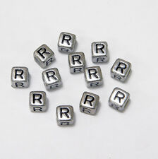 "6mm Silver Metallic Alphabet Beads Black Letter ""R"" 100pc"
