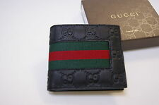 New Gucci Authentic Men's Black GG Wide Web Bifold Leather Wallet