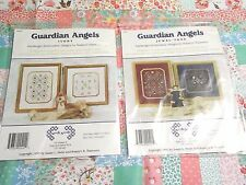 Lot of 2 Hardanger Embroidery Nordic Needle Patterns Guardian Angels w/ Buttons