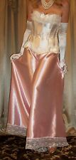 Vtg Pink Wide Leg Long Lace Satin Night Slip on Palazzo Pantaloon Pants 2X 3X