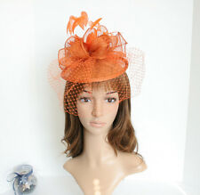 2015 NEW Church Derby Wedding Sinamay w Feather Fascinator Cocktail Orange 408