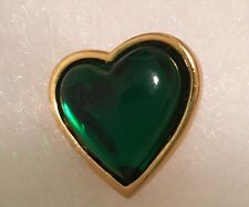Vtg YVES SAINT LAURENT Heart Pin Rive Gauche Green Center YSL Signed France