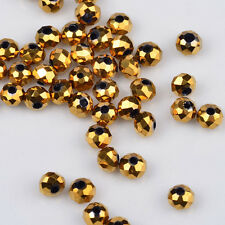 100 pcs 3x2mm Chinese Crystal exquisite Glass Beads Faceted Rondelle Golden