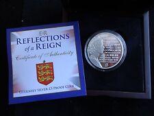 2015 ARGENTO PROOF Guernsey £ 5 MEDAGLIA BOX + COA riflessioni di un Regno 1/2015
