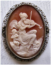 Beautiful Antique Shell Cameo Pin in silver setting - Lady Fiddler with cherub