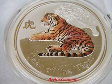 PERTH LUNAR  2010 TIGER .999 SILVER COLORED  BU  REV.PROOF COIN RARE! AUSTRALIA