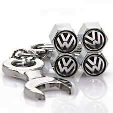 4x Car Tyre Stems Air Cover Valve Caps + Wrench Keychain Key ring for VW NEW