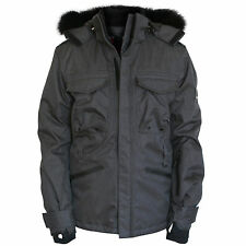 BURBERRY SPORT men's gray fox fur hooded coat technical Recco ski jacket Medium