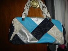 Bebe Blue and silver Patch Work Handbag $349