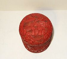 CHINESE PEOPLE LANDSCAPE CARVED CINNABAR LACQUER ENAMEL HUMIDOR CANISTER JAR BOX