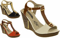 Womens Wedge High Heels Sandals Ladies Platform Strappy Shoes Size 3 4 5 6 7 8