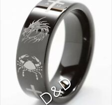 8Mm Mens Tungsten Carbide black Ring Celtic Dragon  Cross Wedding Band Size 8-12