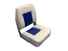 High Quality Folding Helmsman Boat Seat - Grey / Blue