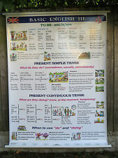 PULL DOWN SCHOOL WALL CHART OF BASIC ENGLISH LANGUAGE III DOUBLE SIDED LESSON 3