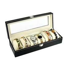 6 Slot Leather Mens Watch Box Jewelry Display Case Showecase Holder Glass Top