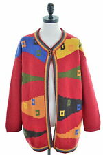 United Colors of Benetton Womens Cardigan Sweater Size 14 Medium Red Oversized