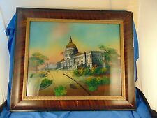 "Reverse Glass painting United States Capital building 21"" x  25"" Washington DC"