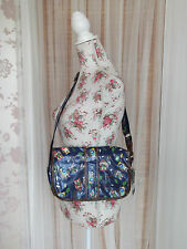 Acess Ladies Blue Mix Owl Print Oil Cloth Cross Body Messenger Bag NEW