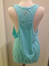BEBE SPORT Extra Low Cut Front Stretch Cotton Loose Fit Tank Bright Aqua Large