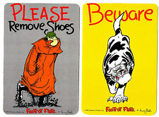 2 NOVELTY BOOKMARKS - BEWARE - CAT  - DOUBLE SIDED