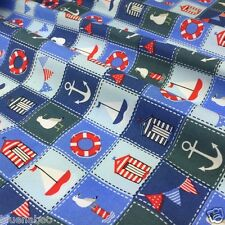 Per half metre Nautical themed fabric blue & red  100% cotton 112cm wide