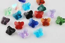 10pcs Mixed Faceted Glass Crystal Butterfly Beads Spacer Finding Charms 14mm