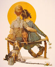 Boy and Girl Gazing at the Moon  by Norman Rockwell   Giclee Canvas Print Repro