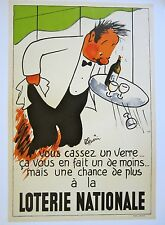 Vintage 1950's French Lithograph Poster on Linen