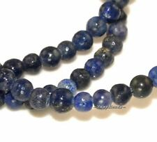 4MM AZURA LAPIS LAZULI GEMSTONE RUGGED DARK BLUE ROUND 4MM LOOSE BEADS 8""