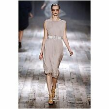 =SUBLIME= LANVIN Beige Draped Gathered Grecian Goddess Flowing Evening Dress US6