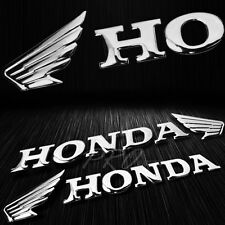 "2x 7"" x 1.5"" 3D ABS Emblem Decal Wing Logo+Letter Glossy Sticker Honda Chrome"