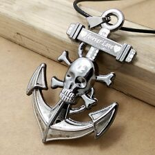 Popular Personality Stainless Steel Skull anchor pendants necklace LL295