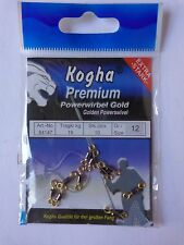 Kogha Powerwirbel Gold swivels size 12 19kg b/s pack of 10