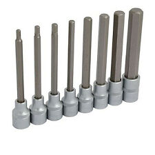 "8pc Extra Long HEX Bit 5 6 7 8 10 12 14 17 mm Socket Set 1/2"" Allen Key"