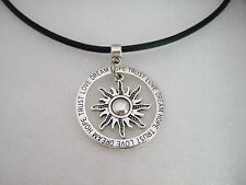 Antique Silve Sun and Love Dream Loop Tibetan Pendant Charm Choker Necklace 13""
