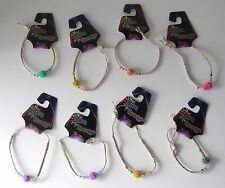 "8 HANDMADE HEMP ""RAVE ENERGY"" BRACELETS WITH COLORFUL BEADS  ~ PARTY FAVORS"