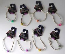 """8 HANDMADE HEMP """"RAVE ENERGY"""" BRACELETS WITH COLORFUL BEADS  ~ PARTY FAVORS"""