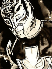 Rey Mysterio 18 x 24 Print, Poster Painting WWE WCW WWF ECW AAA CMLL Wrestling