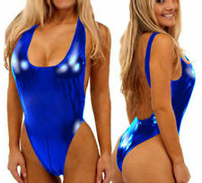 Royal Blue Sexy Open Crotchless Backless Vinyl Leather Lingerie Bodysuit One