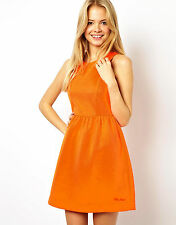 Pepe Jeans Structured Skater Orange Dress - Size M (UK 12) - NEW