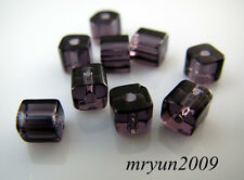 Free LOT 200pcs TOP Glass CRYSTAL Square CUBE Purple Dream Beads findings 4x4mm