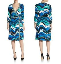 BCBG MAXAZRIA Gorgeous Blue Multi Stretch Jersey Wrap Tie Belt Dress NWT XXS / 0