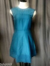 J. CREW PETITE PERFORATED A-LINE DRESS PEACOCK BLUE SIZE 12P NWT