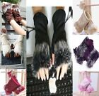 Hot New 7 Colors Women Lady Girl Rabbit Fur Hand Wrist Warmer Fingerless Gloves