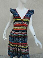 MARC JACOBS DRESS Empire Waist Silk Multi Color Sleeveless Pleated Dress Sz L