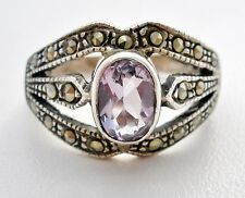 Amethyst and Marcasite Sterling Silver Ring 1 Ct Purple Gemstone Size 6 Vintage